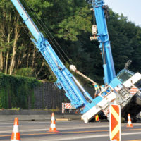 crane on its side after accident