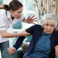 nursing home staff gets frustrated at senior lady