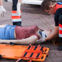 Woman falls on walkway