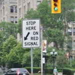 Stop here on Red traffic sign