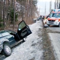 Icy car accident