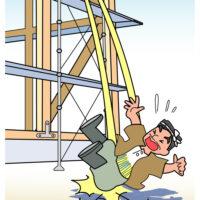 Cartoon character falls from ladder