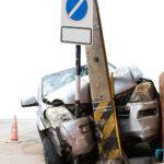 SUV hits a pole