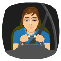 A drowsy person driving