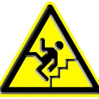 Hazard sign to warn against slip and fall accidents that could occur