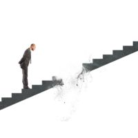 stairs vanish in front of businessman